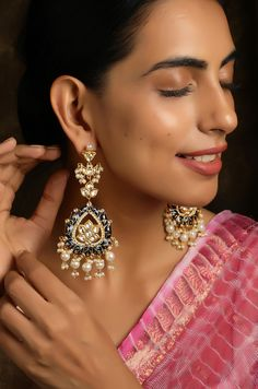 Indian Jewelry Earrings, Indian Wedding Jewelry, Bridal Jewelry, Fancy Jewellery, Indian Bridal, Jewlery, Stylish Jewelry, Fashion Jewelry, American Diamond Jewellery
