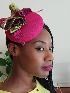 Items similar to Cerise Pink Sinamay Fascinator with Ankara fabric detail on Etsy Bridal Fascinator, Fascinator Hats, Headpiece, Fascinators, Green Fascinator, Fascinator Hairstyles, Ankara Fabric, African Fabric, African Hats