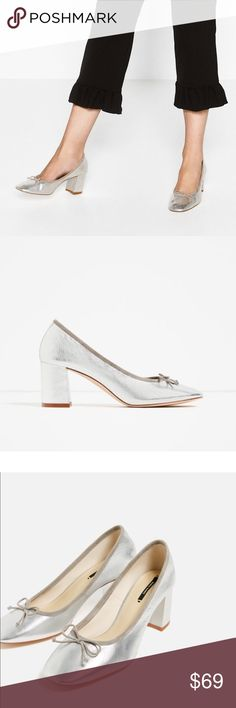 Zara shoes New with tag. EUR 39 US 8 Silver-toned heeled leather shoes. Laminated finish. Bow detail on the inset. Square toe. 100% Goat Leather. Zara Shoes