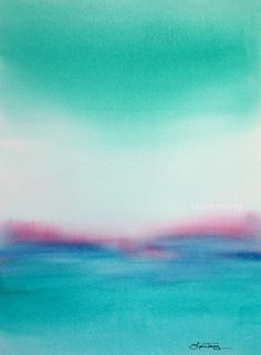 Turquoise Seascape in Watercolor by Laura Trevey