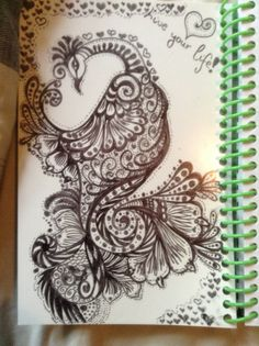 Peacock sharpie drawing