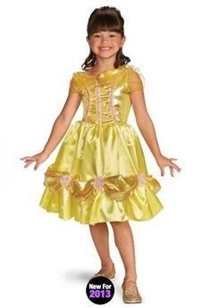 Disney Belle Sparkle Classic from WholesaleHalloweenCostumes.com.  Create a glamorous look fit for a princess with our Disney Belle Sparkle Classic Children's Costume. This officially licensed princess outfit includes a yellow dress with character cameo brooch. The knee length skirt features a gold accent with pink rose appliques.  Get your rebate from RebateGiant.