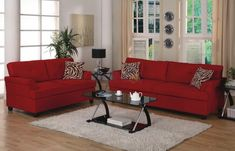 Decorate living room with red sofa Red Couch Living Room, Living Room Decor, Leather Sofa, Red Leather, Home Decor Bedroom, Burgundy Couch, Family Room, Decoration, Furniture Ideas