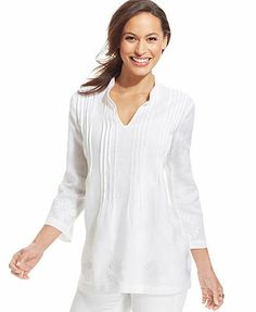 Charter Club Pintucked Embroidered Linen Tunic