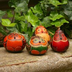 Gourd-bright-bird-carved-owl-big-eyes #fairtuesday family ornament gifts