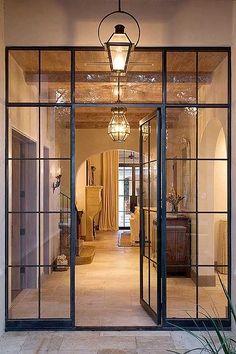 Trendy Ideas For Metal Door Frame Kitchens Iron Front Door, Glass Front Door, Iron Doors, Sliding Glass Door, Glass Doors, Steel Windows, Windows And Doors, Door Design, House Design