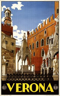 https://flic.kr/p/6gm5gL | Verona, travel poster for ENIT, 1938 | Verona. Travel poster shows buildings and monuments in old Verona. Pizzi & Pizio for ENIT (Ente Nazionale Italiano per il Turismo), 1938.  From the Artist Posters Collection at the Library of Congress More travel posters | More  artist posters [PD?] This picture is assumed to be in the public domain.