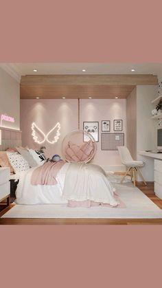 Pink Bedroom Design, Girl Bedroom Designs, Room Ideas Bedroom, Small Room Bedroom, Home Room Design, Pink Bedroom Decor, Teen Bed Room Ideas, Light Pink Bedrooms, Rose Gold Room Decor
