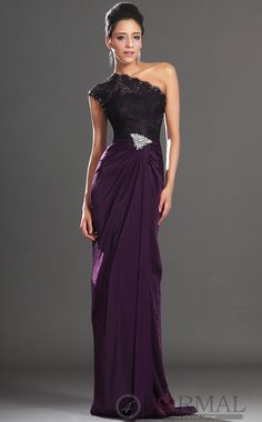 Purple Long Dress Formal,One Shoulder Sheath Semi-Formal Dress www.4formal.com.au/lace-formal-dresses/