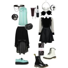 """goth and pastel goth outfit goth"" by killahkelsey on Polyvore"