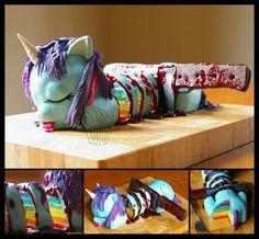 Chopped dead unicorn cake.