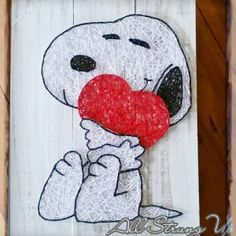 Snoopy Heart String Art all strung up