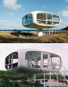 Lifeguard tower converted into futuristic beach house. :)