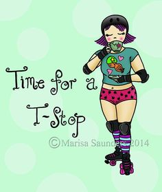 Roller Derby Greetings Card  Time for a Tstop by ShoveandKisses, £2.50