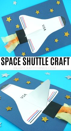 This fun space shuttle paper craft is a great summer craft for kids or for school to accompany a solar system unit. The space shuttle wing popping off the page gives this paper craft a fun effect to it. The space shuttle craft would look great up on dis Outer Space Crafts For Kids, Space Activities For Kids, Space Preschool, Summer Crafts For Kids, Preschool Crafts, Spring Crafts, Planets Activities, Craft Activities, Space Solar System