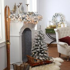 Finley Home 3.5 ft. Classic Flocked Slim Pre-Lit Battery Operated Christmas Tree - Perfect for small areas, the Finley Home 3.5 ft. Classic Flocked Slim Pre-Lit Battery Operated Christmas Tree is ideal for apartments or as a second...