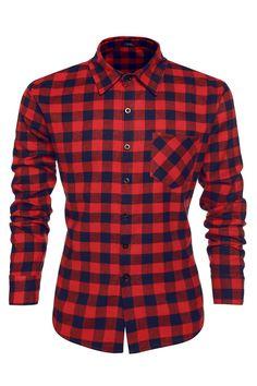 Coofandy Casual Plaid Long Sleeve Shirt Fashion T-shirts at Amazon Men's Clothing store: