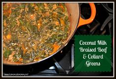 Coconut Milk Braised Beef and Collard Greens | www.homemademommy.net #recipe