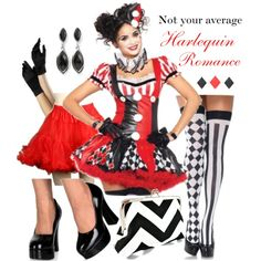 "If you're looking for something a little outside of the box this Halloween, think of something with a harlequin influence. It's stylish, sexy, and just a little bit different!  Dress with hat & ruffle, gloves, petticoat, shoes, & stockings available in our store! ""Sexy Harlequin Clown Costume for Halloween"" by costumelicious on Polyvore    #HarlequinCostume #JesterCostume #HarleyQuinnCostume"