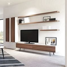 36 Amazing TV Wall Design Ideas For Living Room Decor ~ kliksaya.me room Ideas Tv Unit Decor, Tv Wall Decor, Tv Cabinet Design, Tv Wall Design, Floating Entertainment Unit, Entertainment Center, Tv Wanddekor, Living Room Tv Unit Designs, Tv Unit Furniture
