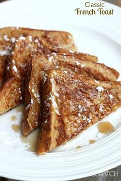 Classic French Toast recipe with a secret ingredient that makes them perfectly fluffy! One of our family's favorite breakfasts!