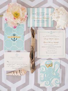 Beach wedding invitations. #Sea shells #Octopus #Snail Shells #Blue #Celebstylewed