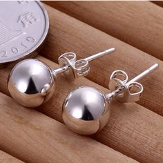 "Spotted while shopping on Poshmark: ""925k sterling silver ball earrings""! #poshmark #fashion #shopping #style #Jewelry"