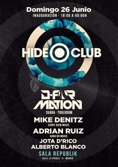 HIDE CLUB. POSTER Music Club Party | Djs House | Electro | Dance | Comercial | Madrid | Clubbing | Tech | Flyer | Music Poster | Club | Techno | Logo