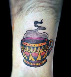 Sweet Coffee Cup Tattoo On leg for men