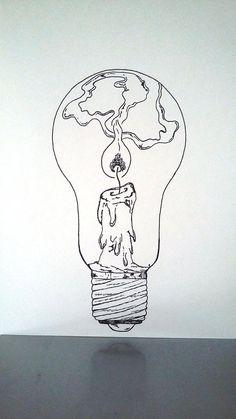Affiche Illustration Noir et blanc ampoule tenir une