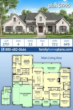Country, Farmhouse, Traditional House Plan 51995 with 4 Beds, 4 Baths, 2 Car Garage House Plans One Story, New House Plans, Dream House Plans, House Floor Plans, Dream Houses, Open Concept House Plans, Modern Farmhouse Plans, Farmhouse Homes, Country Farmhouse