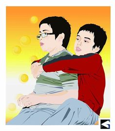 Brother in frame! #digital #digitalart #painting #illustrationart #adobeillustrator #details #design #colorful#boy#brotherhood #brotherlove #christmaseve #hug
