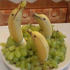 banana dolphin food art