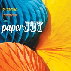 PaperJOY honeycomb decorations.  Teal, tangerine & buttercup Honeycomb Decorations, Honeycomb Paper, Teal, Paper Crafts, Joy, Buttercup, My Love, Party, Paper Craft Work