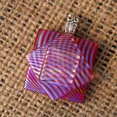 Rainbow Fused Glass Pendant, Dichroic Pendant, Fused Glass Jewelry, Hot Pink. $25.00, via Etsy.