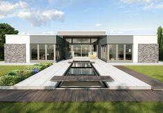 Premium-Entwurf eines Flachdach-Bungalows (optional mit höhenversetztem Mitteltrakt), H-förmiger Grundriss und noble Eingangsfront. Raumgrundfläche gesamt: 210,25 qm (inkl. Garage)