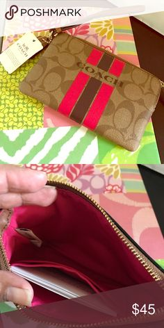 💯Authentic Brand New w/ Tags Coach Wristlet. 💯Authentic Signature Coach Wristlet, Brand New w/ Tags and Box. Approx 6x4 Coach Bags Clutches & Wristlets