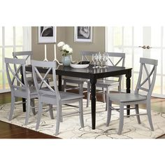 Simple Living Albury Black and Grey Cross Back Dining Set (7 Piece) | Overstock.com Shopping - The Best Deals on Dining Sets