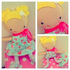 $25.00 Little Tilly Tag Around Softie Doll by pinkpug on Handmade Australia
