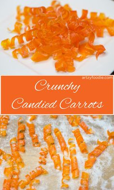 Candied Carrots - Candied carrots are as much fun to make as they are to eat! These super cute candied carrot curls have been boiled in sugar water, baked, and dusted w. Carrot Cake Cupcakes, Cupcake Cakes, Carrot Cake Decoration, Candied Carrots, Candied Fruit, Foto Pastel, Food Garnishes, Salty Cake, Savoury Cake