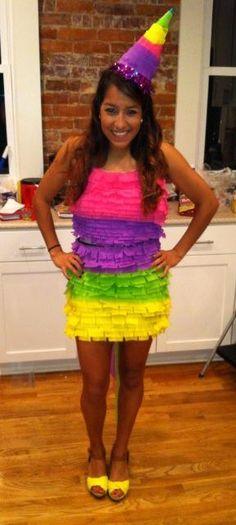 Pinata Halloween Costume! Really easy... streamers, glue gun, scissors, and an old tight dress. Arriba! @Lauren Conrad