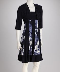 Take a look at this Navy Abstract Panel Dress & Shrug by R Richards on #zulily today!