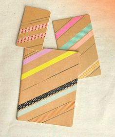 Use washi tape to decorate a basic notebook. Diy Washi Tape Crafts, Washi Tape Journal, Finding A Hobby, Diy Notebook, Diy Washi Tape Notebook, Teen Girl Gifts, Diy For Teens, Craft Videos, Diy Tutorial
