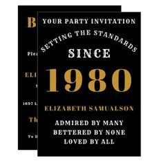 Born 1980 40th Birthday Love Add Your Name Black Invitation