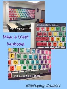 Make your own Giant Keyboard! Perfect for all age groups and computer classes or labs. Help students recognize the keys on the keyboard and which keys go with which finger! Included:-Directions-Pictures of my Giant Keyboard-Color Version: PDFs for each color section & SymbolsRedOrangeYellowGreenBluePurpleMagentaPinkGray-Black & White Version:PDFS of each color group and symbols-Right and Left handprints with color coded fingers to go with the keys.