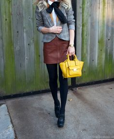 Plaid blazer, brown leather mini skirt, black booties, bow tie, preppy #stylishandscatterbrained, winter fashion, winter outfit