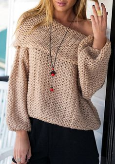 Stylish Women s Off-The-Shoulder Long Sleeve Loose-Fitting Sweater