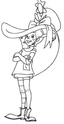 Click Pippi In Huge Hat Coloring page for printable version