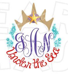 Ariel the little mermaid Crown personalized monogram digital clip art DIY for shirt :: My Heart Has Ears