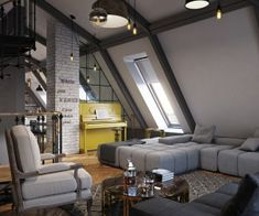 The first home comes from designer Vladimir Bolotkin. Immediately, the slanted attic apartment ceilings stand out in this design. A cool spiral staircase connects multiple levels of the home while cool grey neutrals act as a blanket over the entire apartment. Soft sofas, a perfectly styled bistro kitchen and a smattering of white painted brick all serve to give this home a modern Parisian feel.